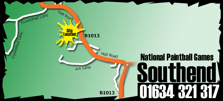 Location map for Southend paintballing site
